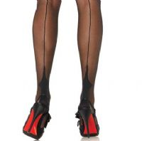 Stockings with Seams and Point Heel in Black or Nude/Black